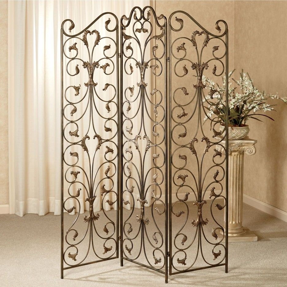 Great 3 Panel Room Divider Screen With Decorative Wrought Iron