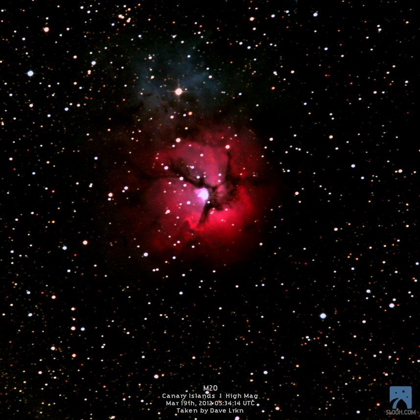 """Slooh member DaveL captured a cool shot of the Trifid Nebula (M20) in constellation Sagittarius using Canary observatory 20"""" telescope. Considering it was very low at the time of the mission, it came out very well."""