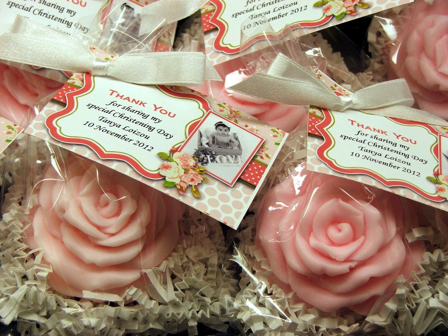 Set of 10 Large Shabby Chic Rose Soap Favors Bridal Shower Baby Shower Wedding Birthday Christening  Bridal Shower Party Favors. $25.00, via Etsy - DIY???
