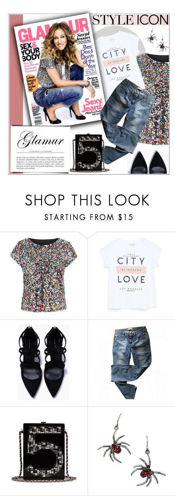 """""""Untitled #2177"""" by deeyanago ❤ liked on Polyvore featuring Cutie, MANGO, Zara, Levi's, Chanel and styleicon"""