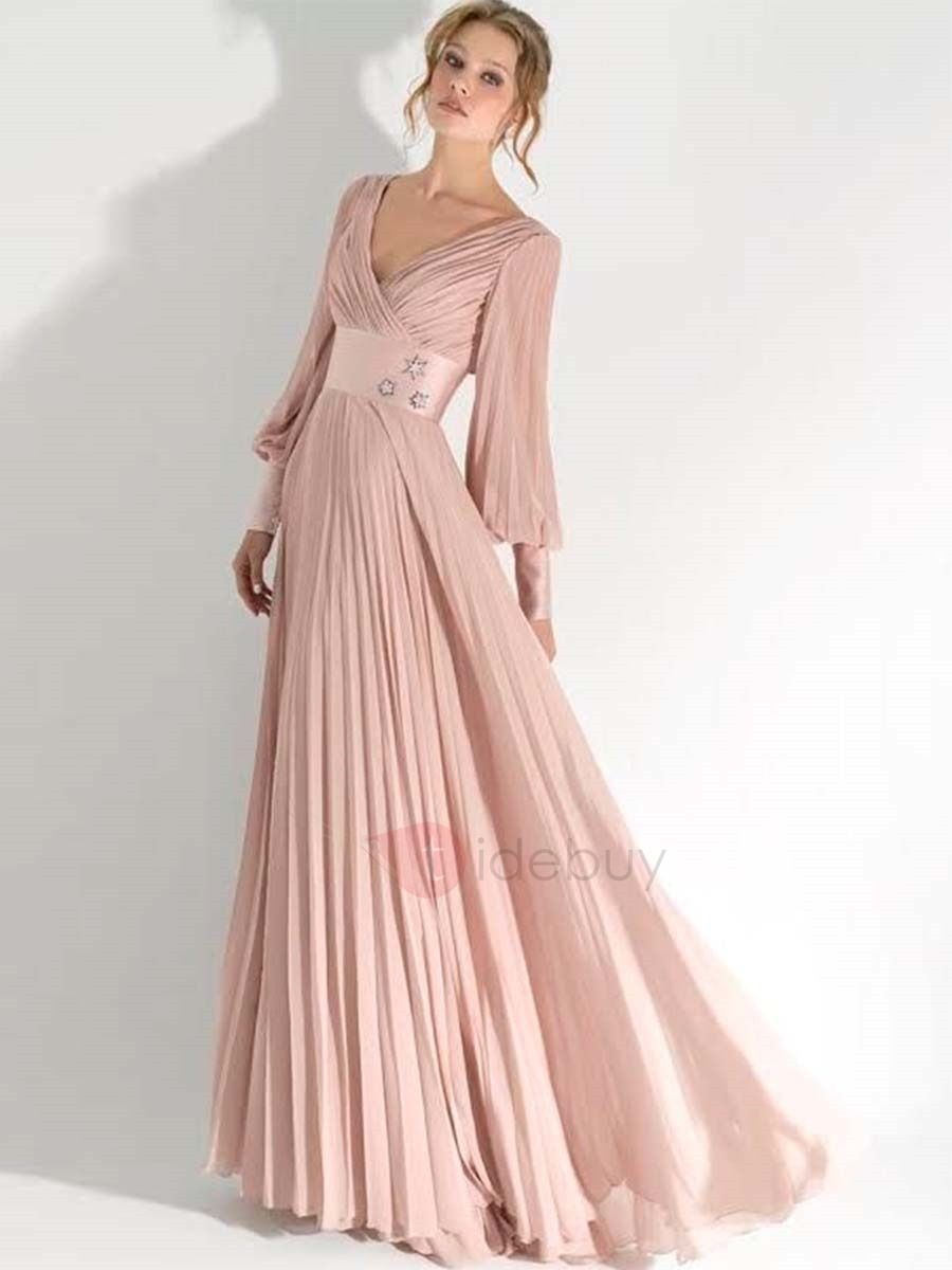 Pink Long Sleeve V Neck Maxi Dress | Pinterest