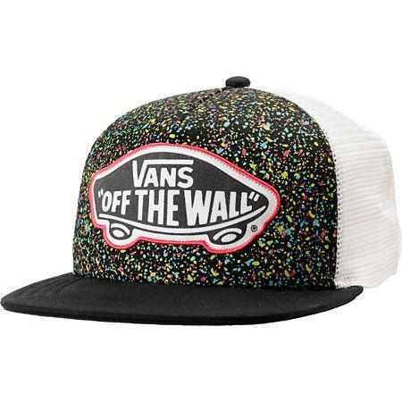 51bf2812324 Vans Girls Black Overspray Splatter Trucker Hat