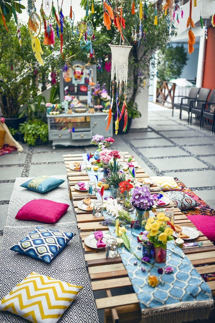 Colorful guest table from a boho tribal birthday party on for Garden table decorations