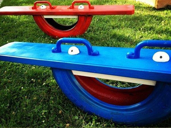 jeu bascule en pneu dunefest diy outdoor toys. Black Bedroom Furniture Sets. Home Design Ideas