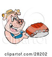 Clipart Illustration of a Hillbilly Pig In Overalls, Eating