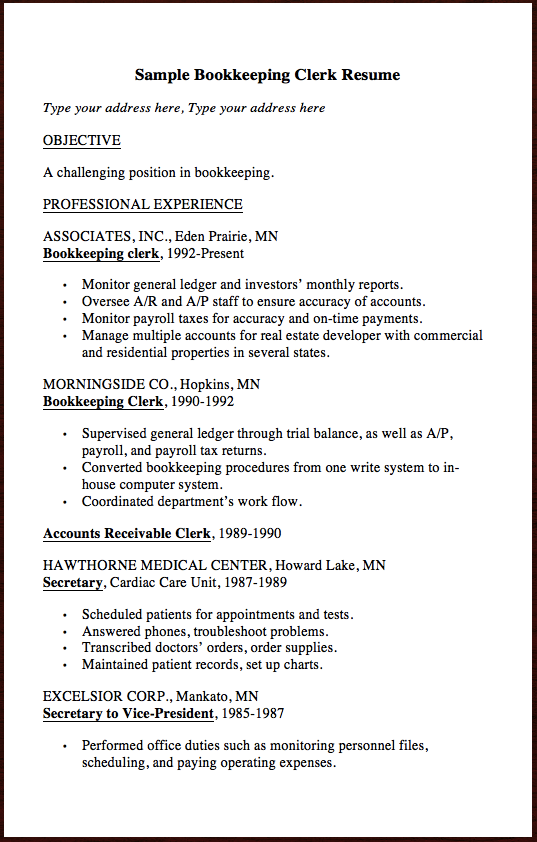 Here Is Another Clerk Resume Example  Sample Bookkeeping Clerk