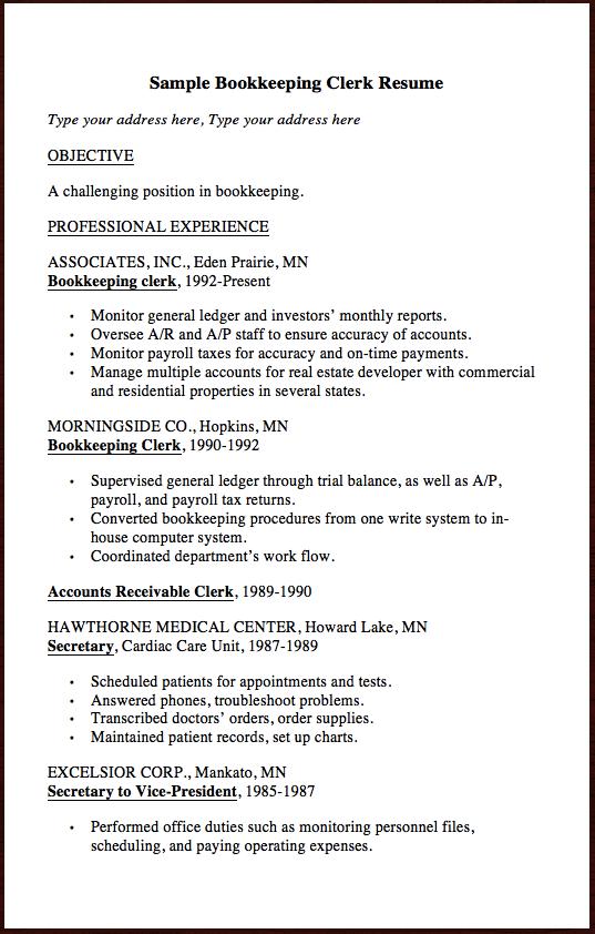 here is another clerk resume example sample bookkeeping clerk