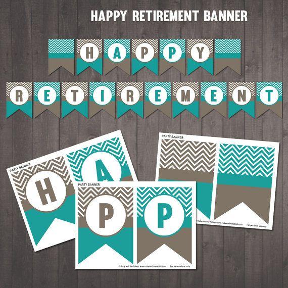 Printable Happy Retirement Banner Chevron Banner Instant