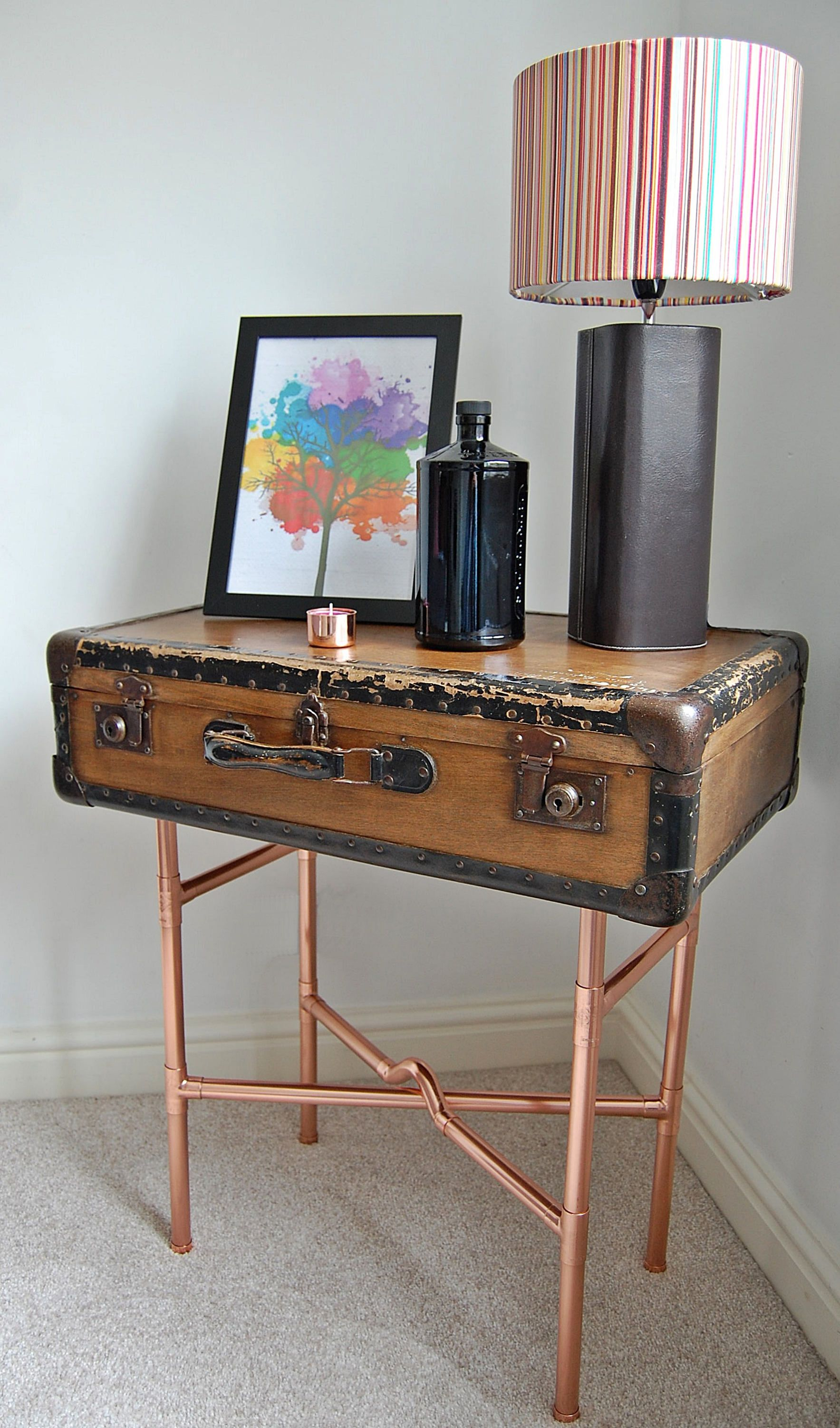 Vintage Suitcase Table Vintage Table End Table Vintage Style Vintage Decor  Copper Unique Table Upcycled Vintage