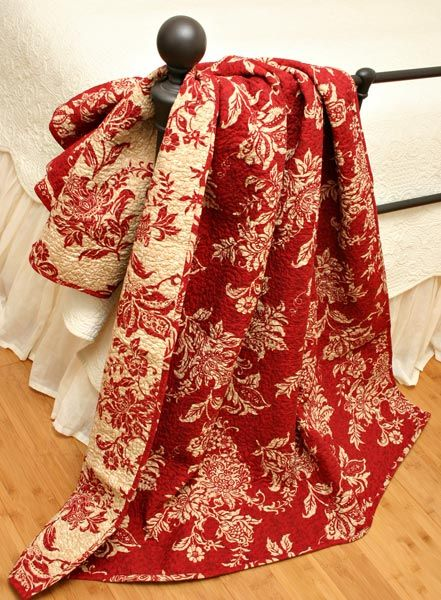 Quilt Throw HILLGATE FRENCH COUNTRY RED & ECRU TOILE 100% COTTON ... : red cotton quilt - Adamdwight.com
