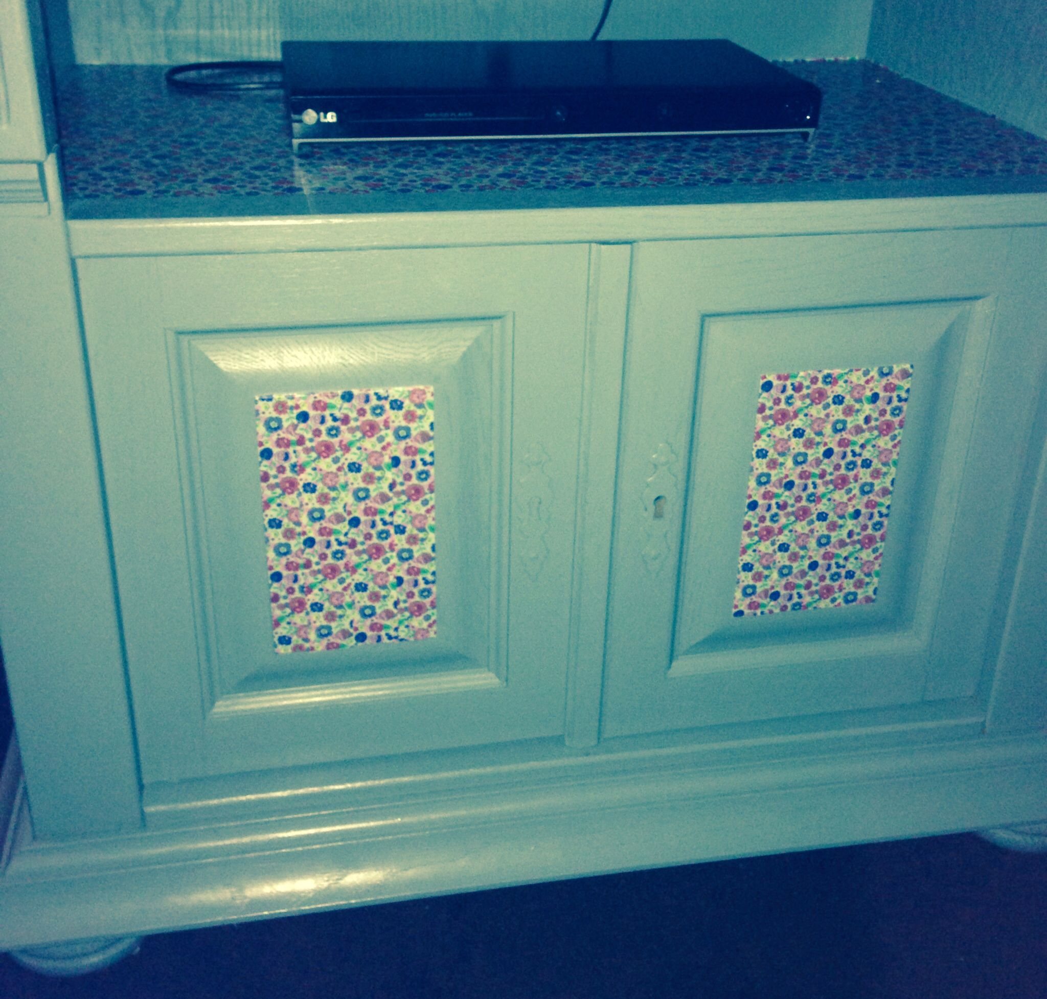Refurbished tv cabinet. Paint and washi tape.  My own work!