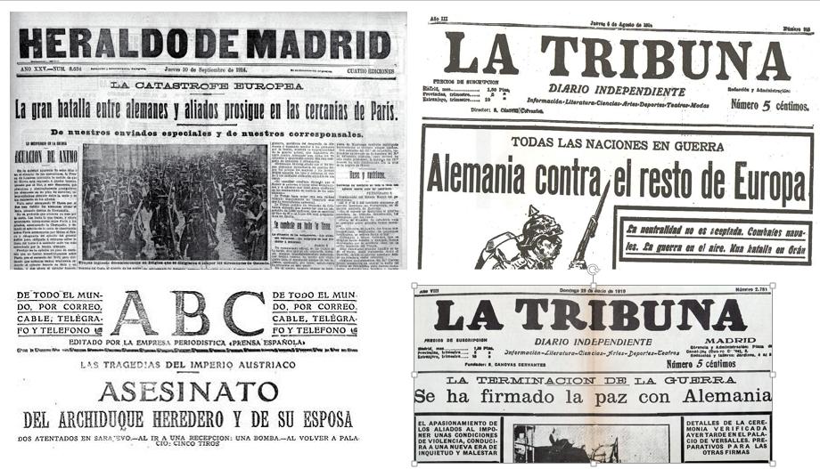 Periódicos de la época españoles. Diarios como \