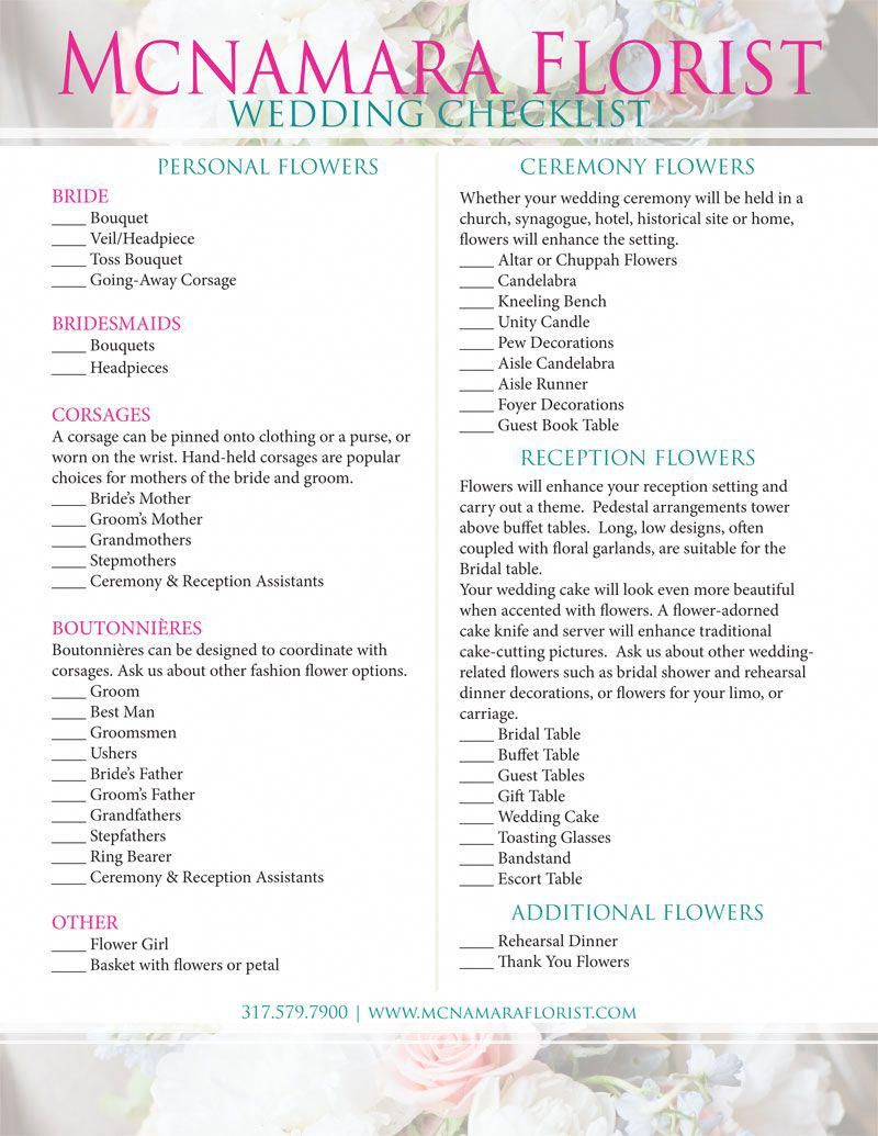 checklist for your wedding flowers mcnamara florist floral
