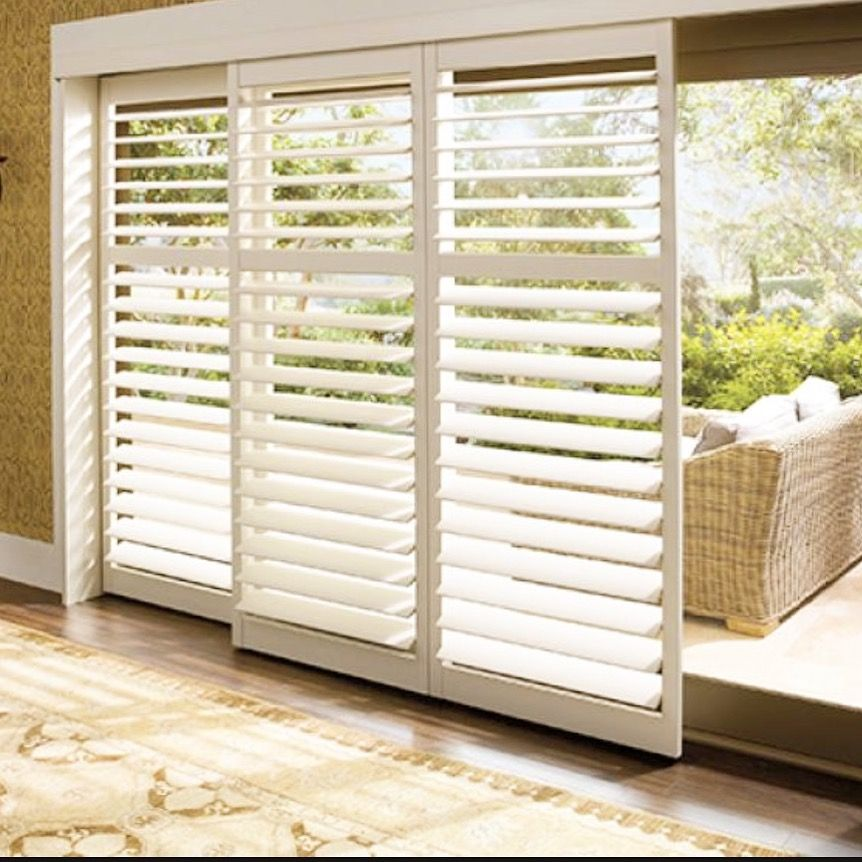 "Security Shutters For Patio Doors: 4 1/2"" Bi-pass Shutters With Clearview Option And Divider"