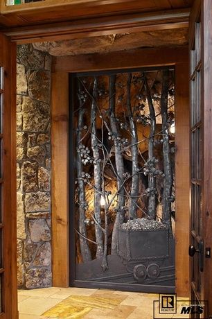 "Rustic Front Door with Handmade Gates and Doors, Volcano Vein Cut / 12""x12""x1/2"" / Polished, exterior stone floors, Pathway"