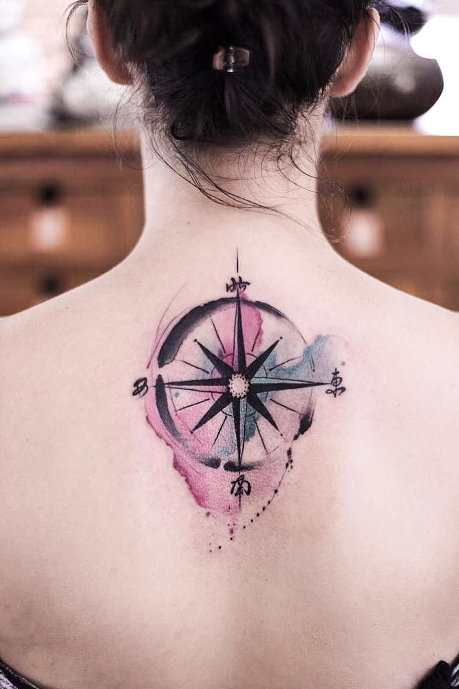 Watercolor Compass Tattoo Design On Back #watercolortattoo #backtattoo ★ Simple, small, feminine compass tattoo ideas with a meaning to inspire you. #compasstattoo #compasstattoodesign #tattoodesign #tattooideas #tattooforwomen #glaminati #lifestyle