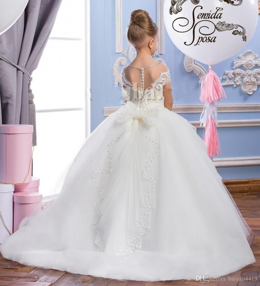 Cheap 2017 new flower girls dresses for wedding lace appliques cheap 2017 new flower girls dresses for wedding lace appliques pearls beaded ball gown bow sheer floor length children kids party communion gowns as low as izmirmasajfo Images