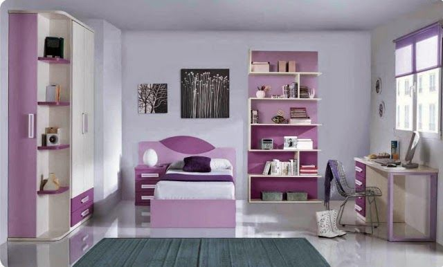 Cuarto ni a colores morados 1 4 habitaciones juveniles - Decoracion habitaciones juveniles nina ...