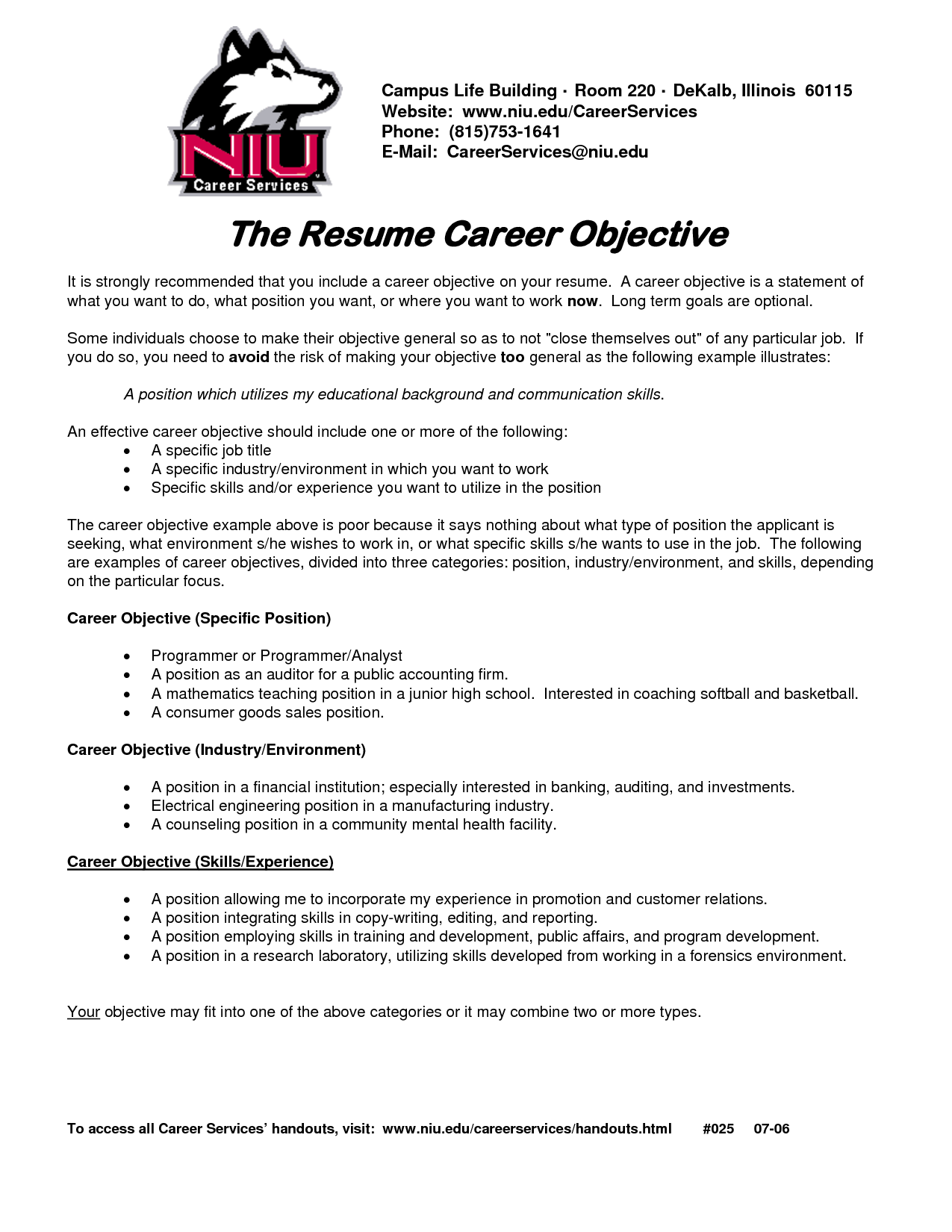 objectives resume