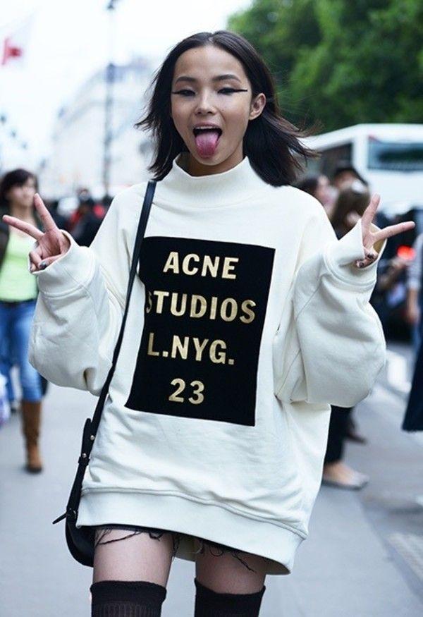 Sweater, gold writing, sweatshirt, acne studios   Pinterest   Acne ... c3366ef8994