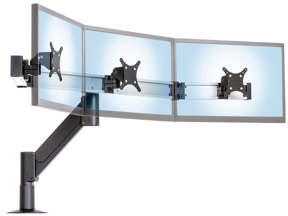 this heavy duty monitor arm for vesa monitors and has desk wall and other mount options it enables optimal positioning of three monitors
