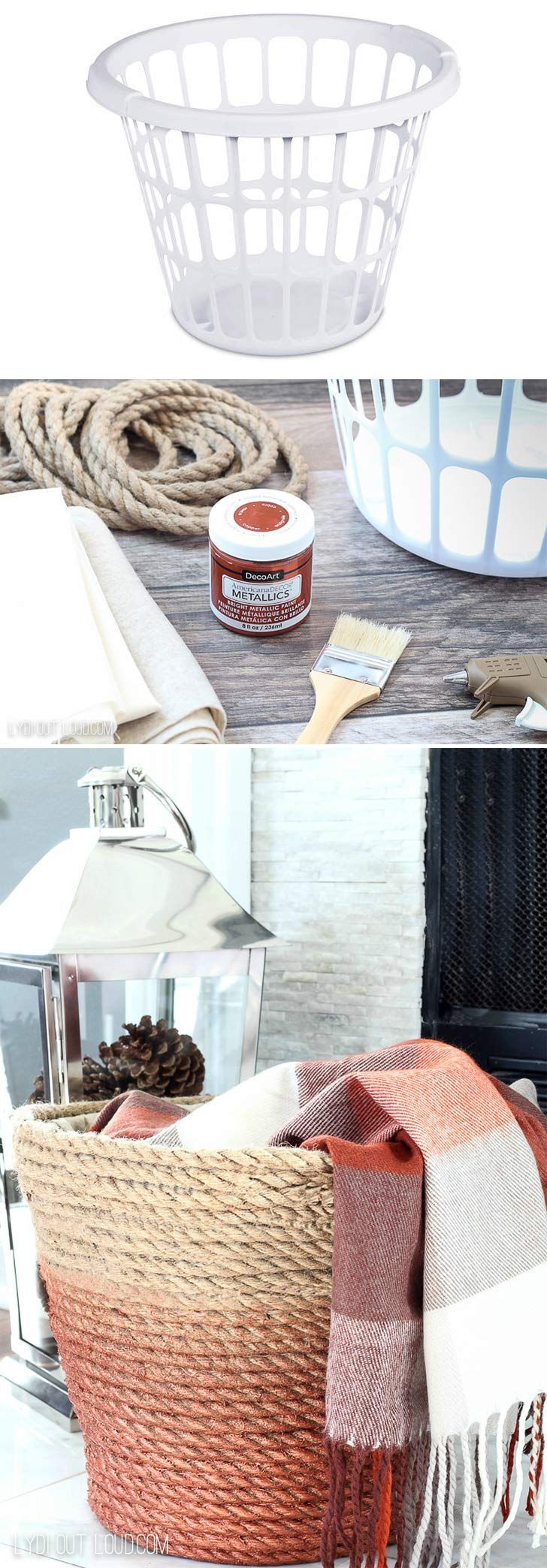 Check out this DIY metallic rope throw basket tutorial. Click on image to see mo...
