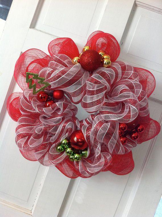 Christmas deco mesh wreath guirlandas Pinterest Navidad