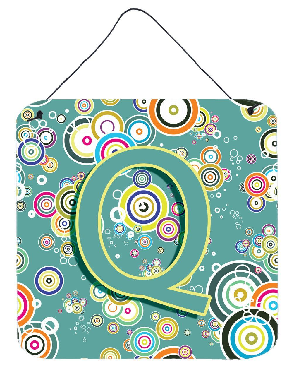 Letter q circle circle teal initial alphabet wall or door hanging