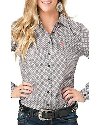 70c781d8e0 Cinch Women's Grey Diamond Print Long Sleeve Western Shirt | Cowgirl ...