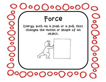 Forces And Motion Vocabulary Posters With Pictures Vocabulary Posters Force And Motion Vocabulary