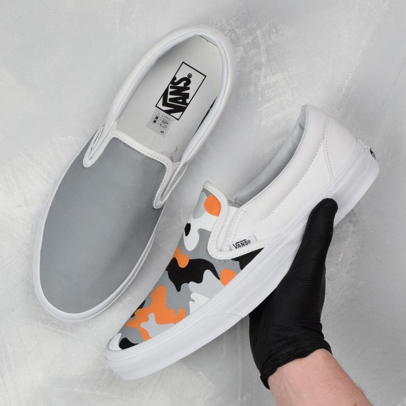 vans slip on all white custom