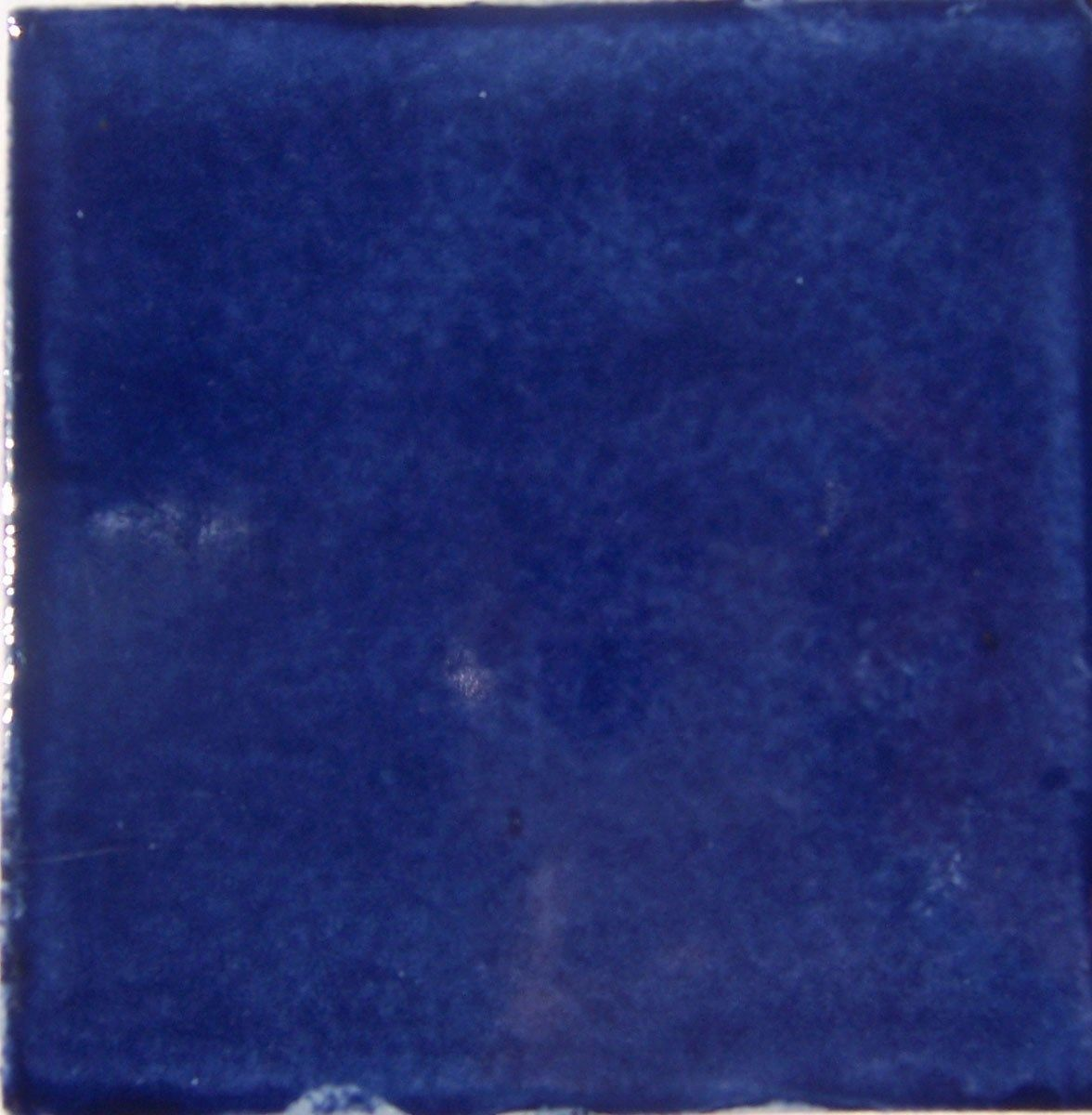 Mexican Talavera X Tile S WASHED COBALT BLUE Mexican Tiles - Cobalt blue ceramic tile 4x4