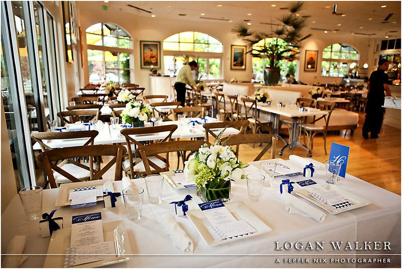 Luncheon Place setting with white and navy blue wedding