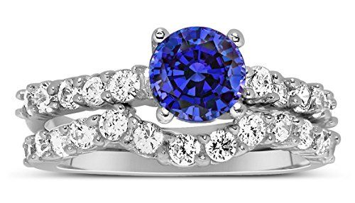 150 Carat Vintage Round cut Blue Sapphire and Diamond Wedding Ring