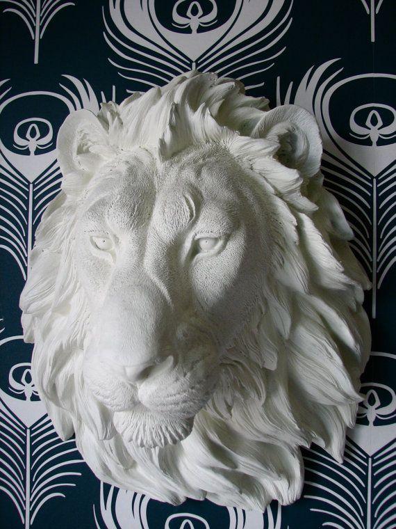 Faux Taxidermy Large Lion Head Wall Decor Wall By Mahzerandvee Faux Animal Head Faux Taxidermy White Faux Taxidermy