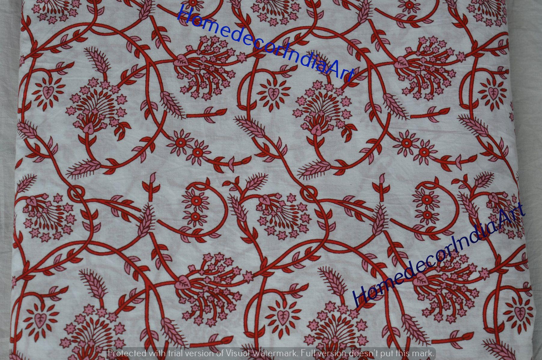 5 Yard Indian Paisley Print Hand Block Print Cotton Fabric Dressmaking Sewing