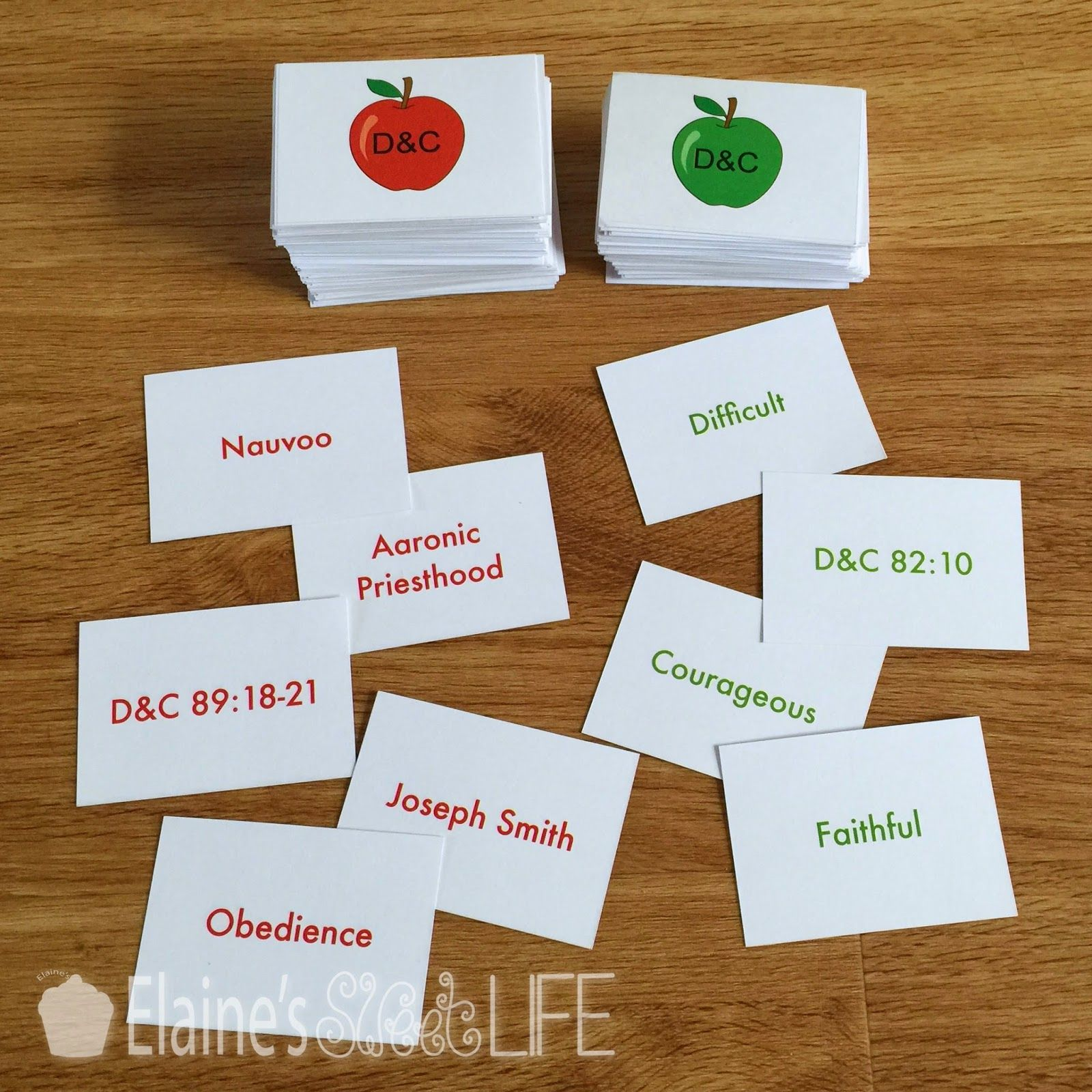 picture regarding Apples to Apples Cards Printable known as Elaines Adorable Everyday living: Doctrine Covenants Apples towards Apples
