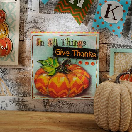 Give Thanks Embellished Wooden Sign Happy fall