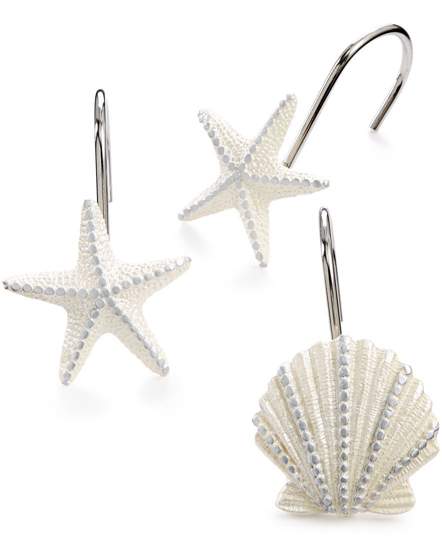 Evoke The Coastal Vibes Of A Beachy Seaside Retreat With Sequin Shells Shower Hooks From Avanti Featuring Raised Seashell Inspired Motif For An