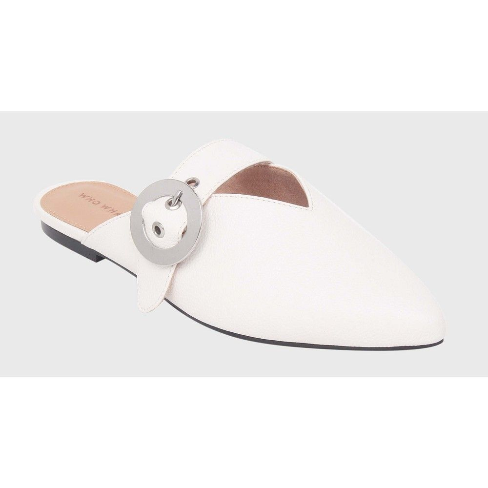 a196d7fd7670 Women s Story Buckle Detail Flat Mules Who What Wear - White 8.5 ...