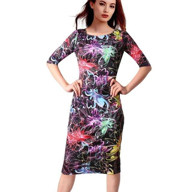 Floral Dress Dresses Length: Knee-Length Style: Casual Season: Summer Material: …