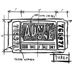 Tim Holtz Collection - Stampers Anonymous - Rubber Stamp - Ticket Sketch