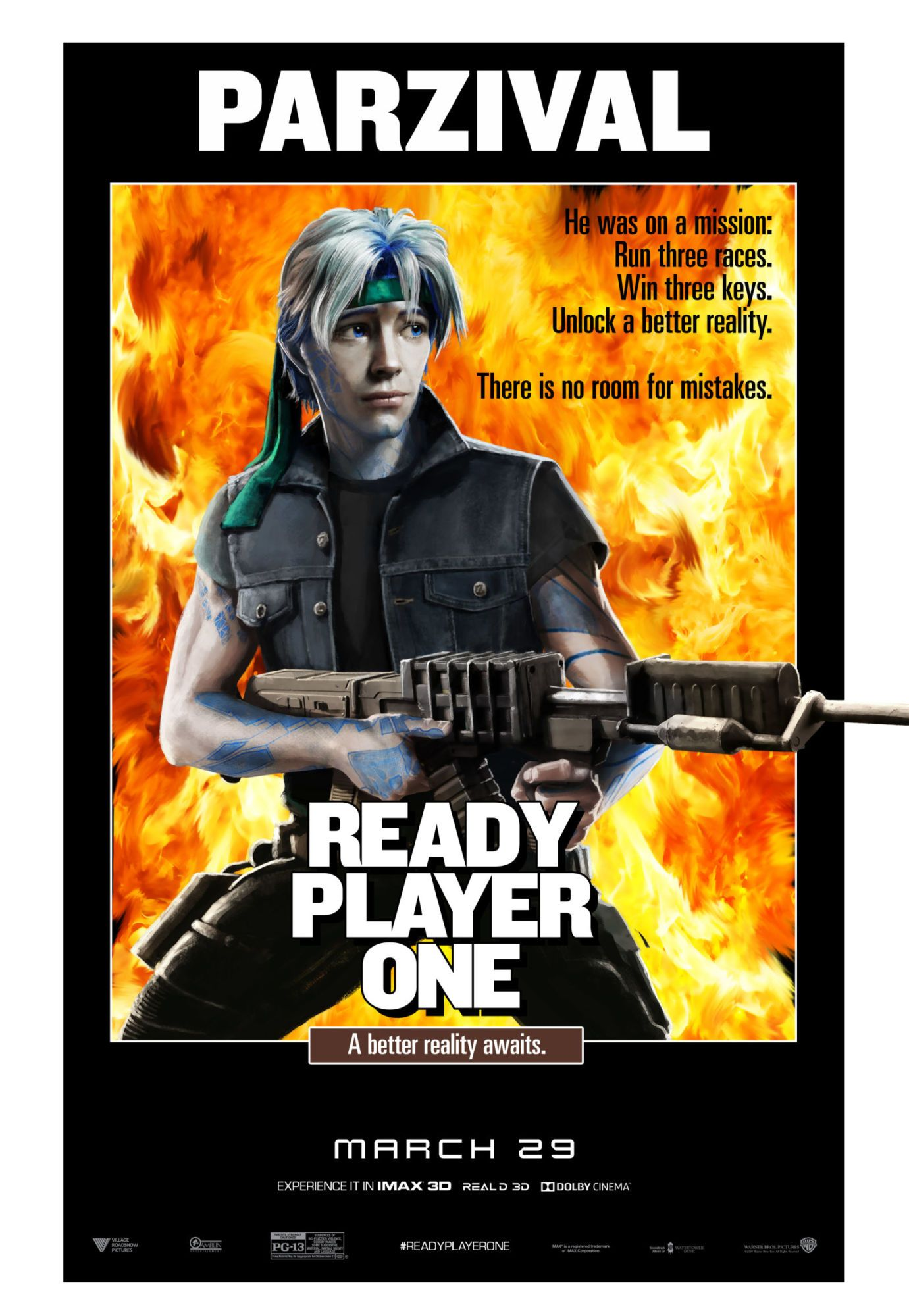 Check out this set of 12 classic movie posters recreated for Ready Player  One featuring the High Five avatars Parzival, Art3mis, Aech, Daito, and  Shoto.