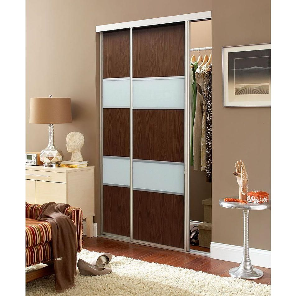 Contractors Wardrobe 72 In X 96 In Sequoia Walnut And White Painted Glass Aluminum Interior Sliding Sliding Doors Interior Contractors Wardrobe Sliding Doors