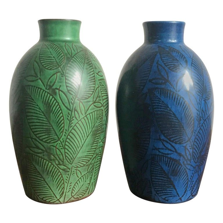 Royal Copenaghen Couple Of Scandinavian Blue Green Ceramic Vases Circa 1945 In 2020 Danish Ceramics Royal Copenhagen Scandinavian Ceramic
