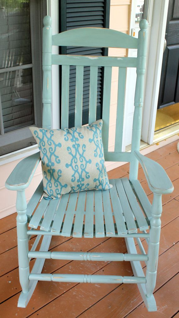 Hand Painted Rocking Chair By Charmedhummingbird On Etsy 150 00 I Love This Color