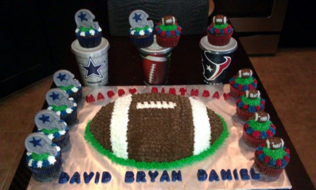 Excellent Dallas Cowboys Houston Texans Theme Birthday Cake Cupcake Personalised Birthday Cards Arneslily Jamesorg