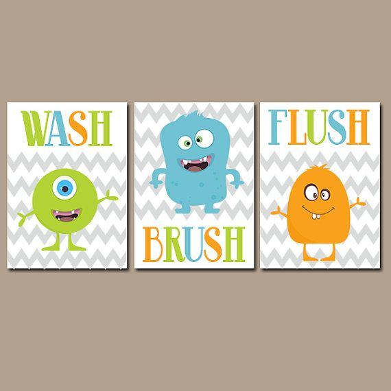 MONSTER Bathroom Monster Canvas or Prints Boy Bathroom Wash Brush Flush  Brothers Bathroom Monster Theme Set of 3 Child Bathroom Kid Bathroom. MONSTER Bathroom Monster Canvas or Prints Boy Bathroom Wash Brush
