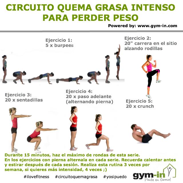 Circuito quema grasa intenso para perder peso 15 minutos gym in pinterest cardio y b squeda - Quema grasa desde casa ...