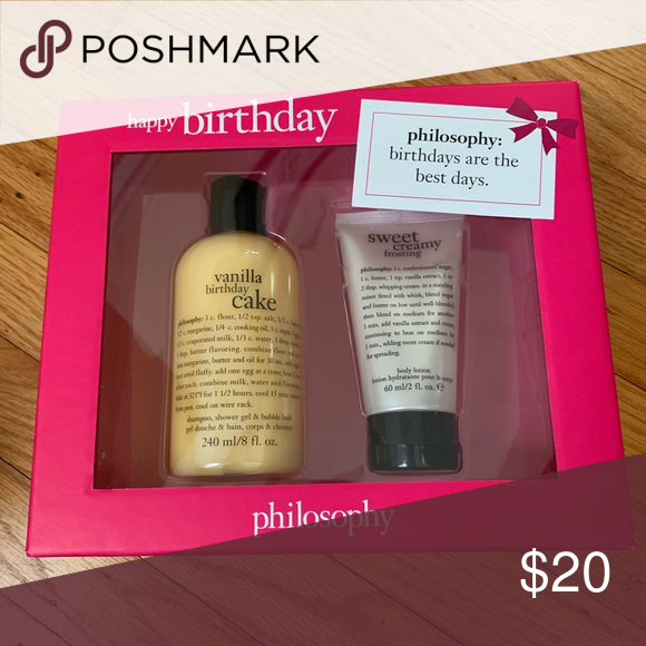 Philosophy Bundle Happy Birthday 2 Piece Pack Includes 1 Vanilla Cake Shower Gel Sweet Cream Frosting Body Lotion New In